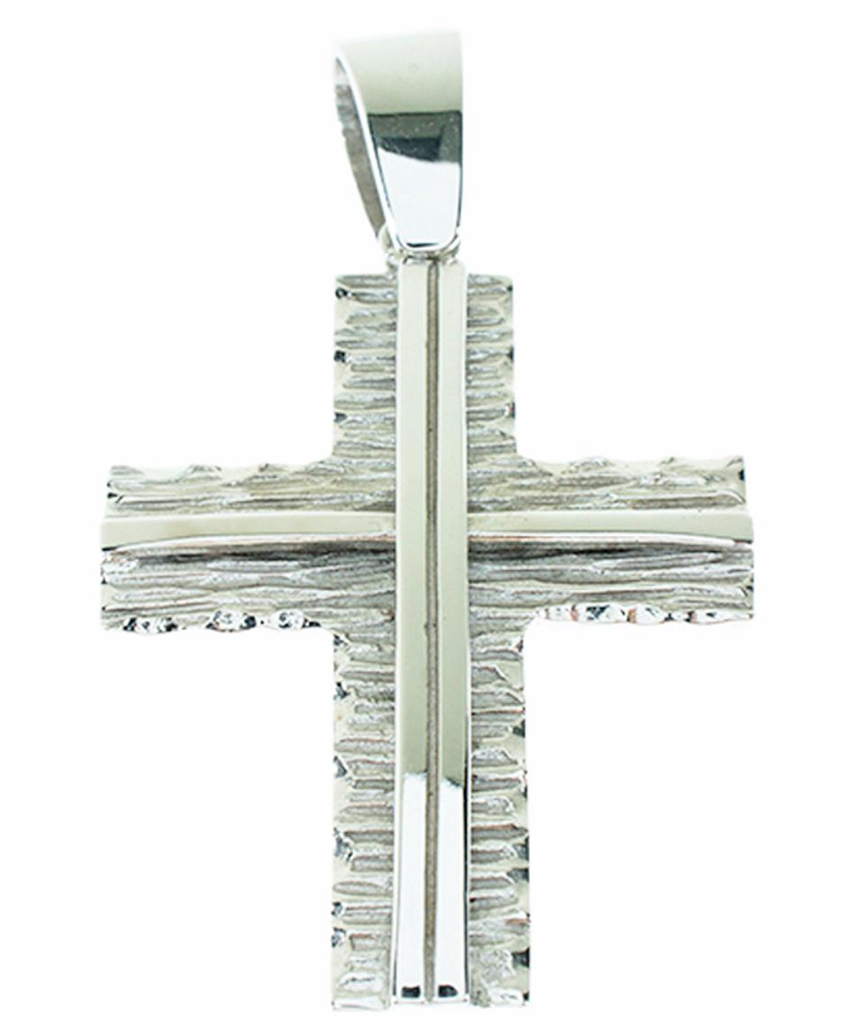 Σταυρός Βάπτισης 14Κ Λευκόχρυσος Ανδρικός ST809
