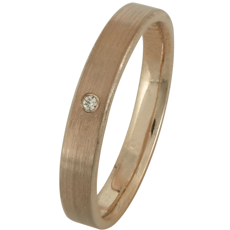 Ροζ Χρυσή Βέρα Γάμου με ή χωρίς Πέτρες WR168R k9 xoris_petra