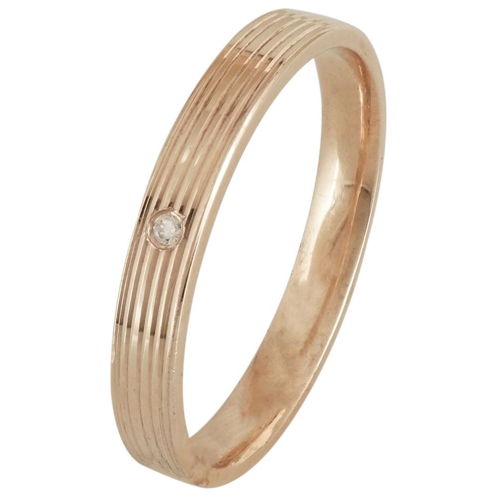 Ροζ Χρυσή Βέρα Γάμου με ή χωρίς Πέτρες WR177R k14 diamonds