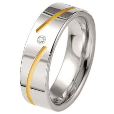Δίχρωμη Ασημένια Βέρα Γάμου Breuning με ή χωρίς Πέτρες WRS229 diamonds