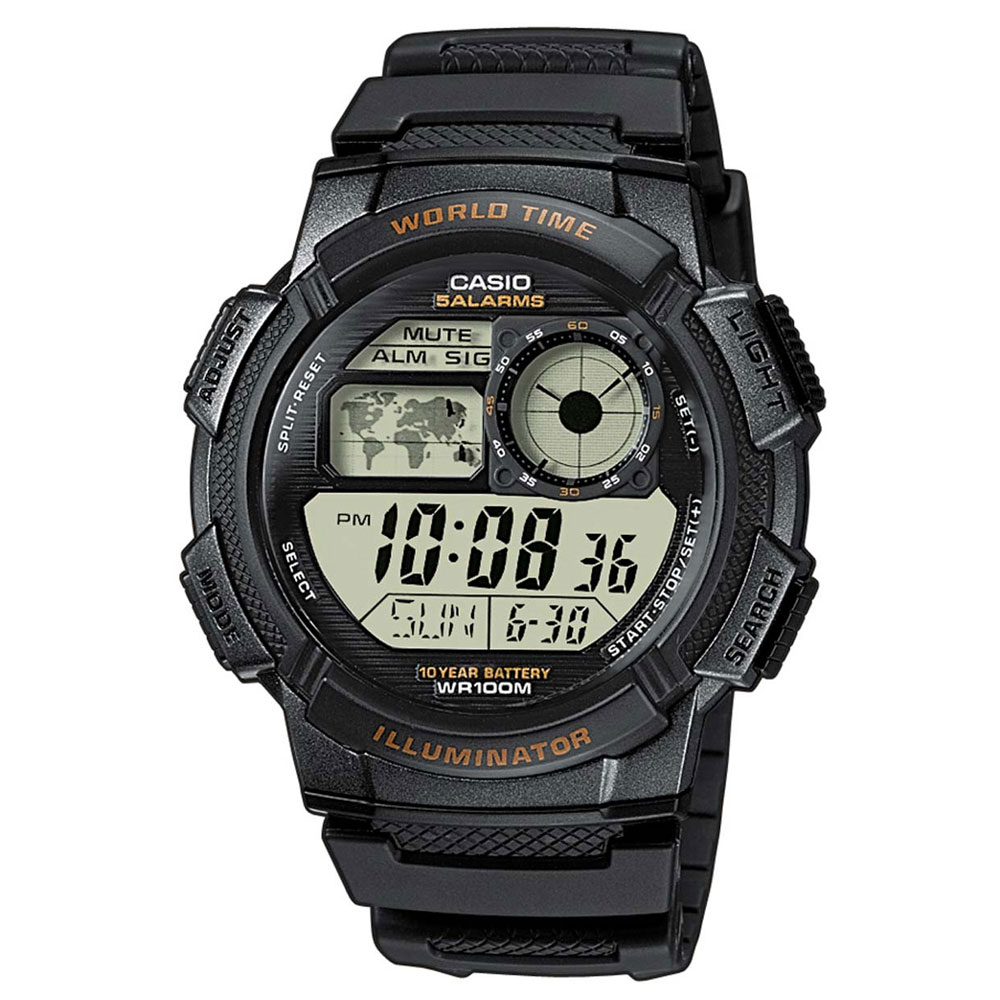 CASIO Collection Digital Black Rubber Strap AE-1000W-1AVEF