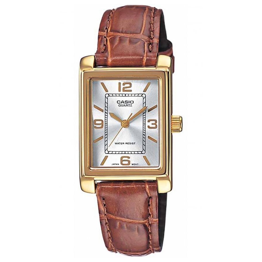 CASIO Collection Brown Leather Strap Silver Dial LTP-1234PGL-7AEF