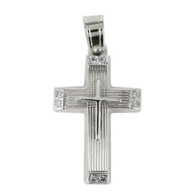Σταυρός Βάπτισης Γυναικείος Σε Λευκόχρυσο 14 Καρατίων Με Πέτρες ST1313