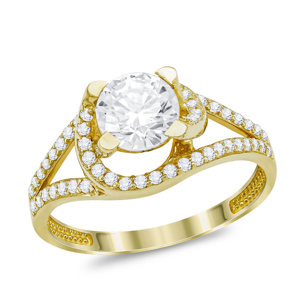 Μονόπετρο Δαχτυλίδι από Κίτρινο Χρυσό K14 DX69517