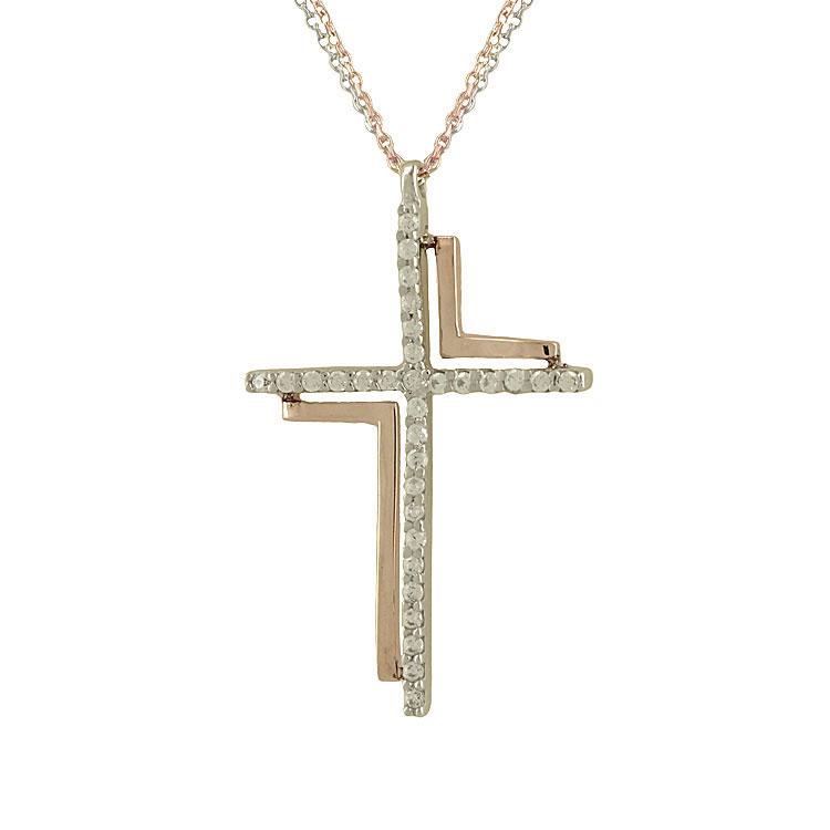 Σταυρός Βάπτισης Κ14 Δίχρωμος Χρυσός Γυναικείος ST1985