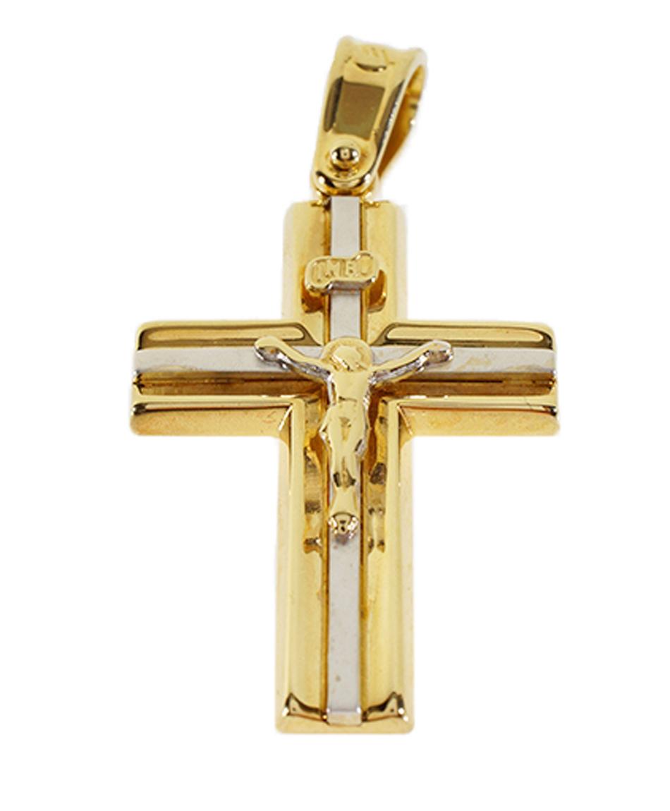 Σταυρός Βάπτισης 14Κ Δίχρωμος Χρυσός Ανδρικός ST550