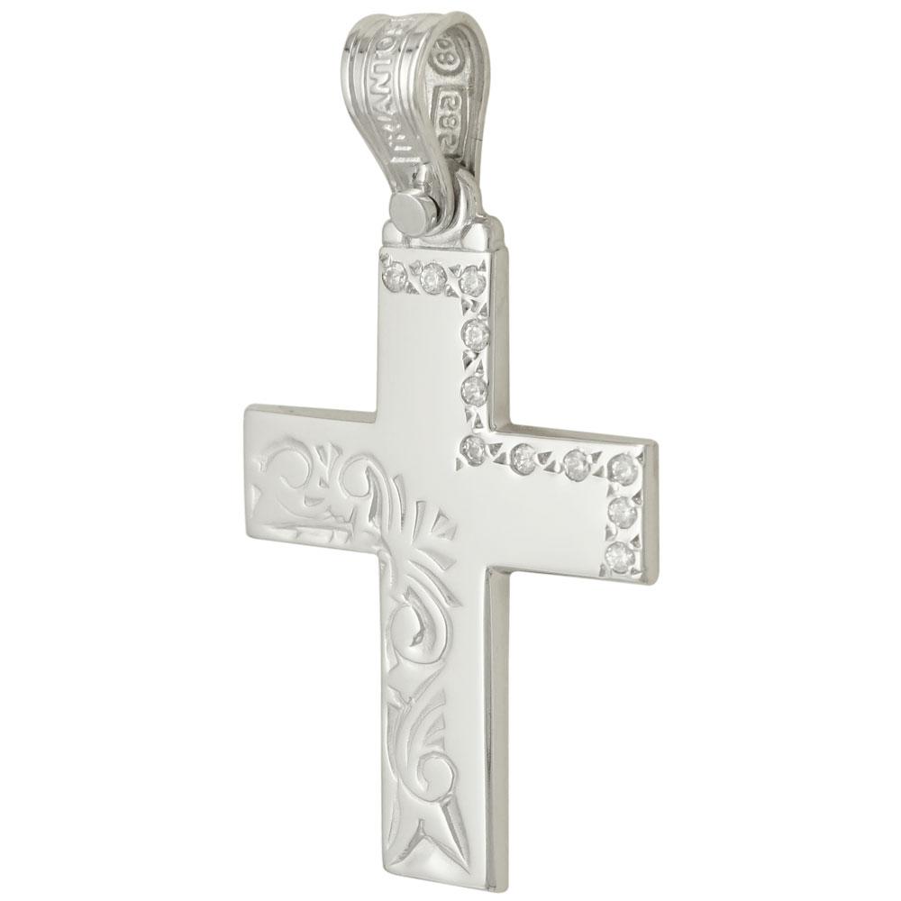 Σταυρός Βάπτισης Λευκόχρυσος Γυναικείος Τριάντος ST1113 5aca22a960f