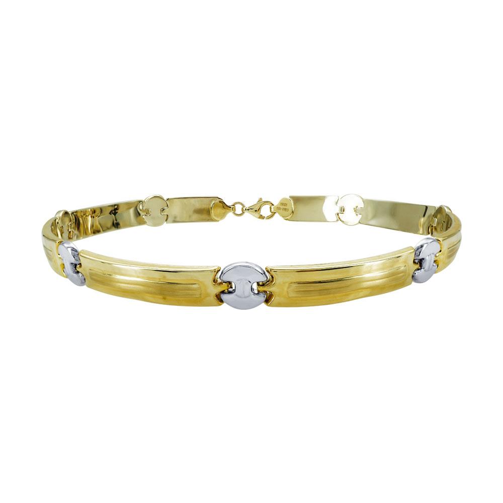 Χρυσό Ανδρικό Βραχιόλι-Χειροπέδα με Λευκόχρυσες Λεπτομέρειες Κ14 AVR101
