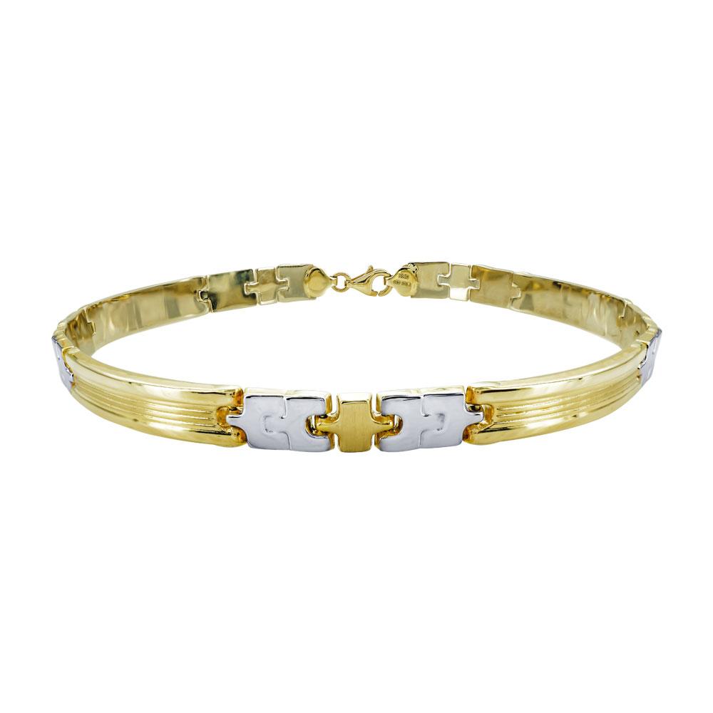 Χρυσό Ανδρικό Βραχιόλι-Χειροπέδα με Λευκόχρυσες Λεπτομέρειες Κ14 AVR102