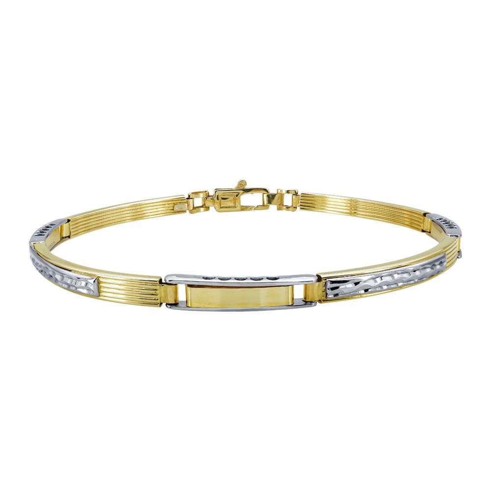 Χρυσό Ανδρικό Βραχιόλι-Χειροπέδα με Λευκόχρυσες Λεπτομέρειες Κ14 AVR114