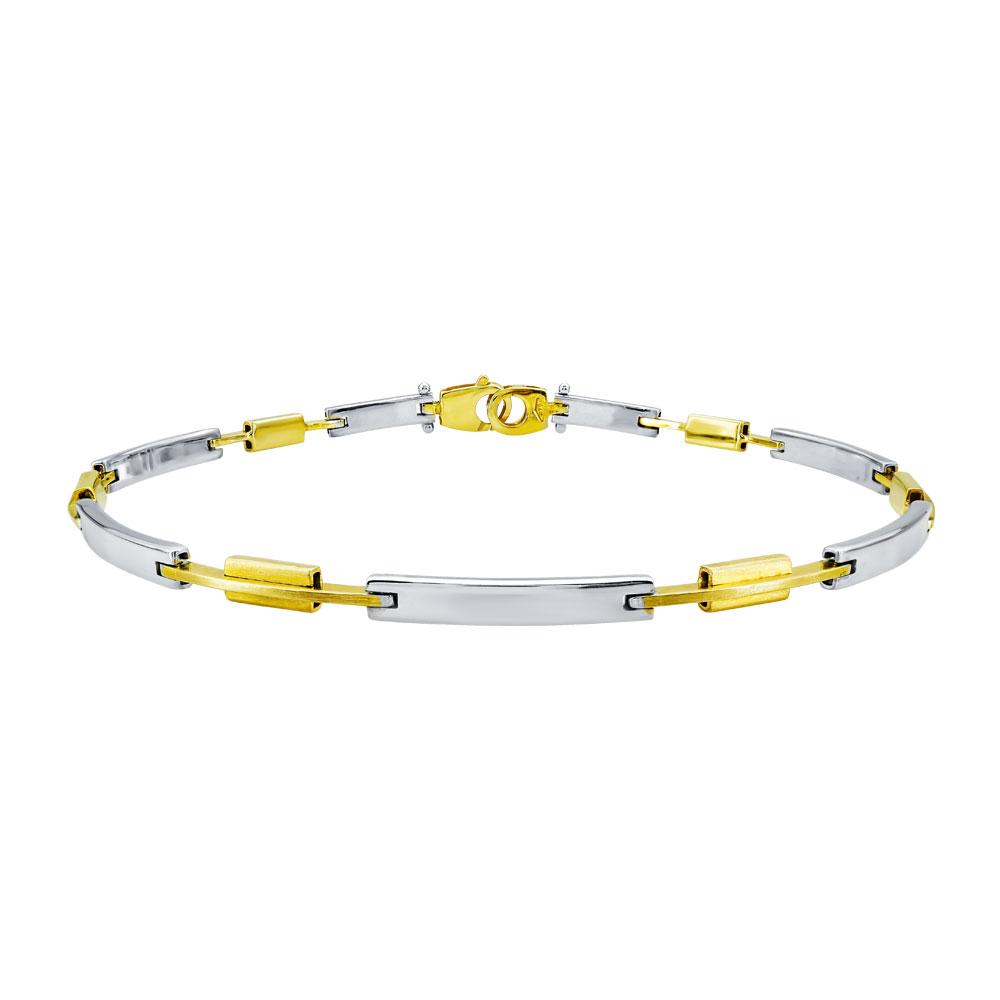 Λευκόχρυσο Ανδρικό Βραχιόλι-Χειροπέδα με Κίτρινες Χρυσές Λεπτομέρειες Κ9 AVR121