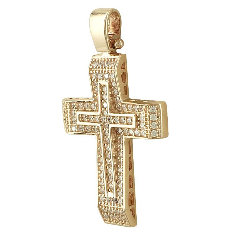 Σταυρός Βάπτισης Κ14 Ροζ Χρυσός Γυναικείος ST2036