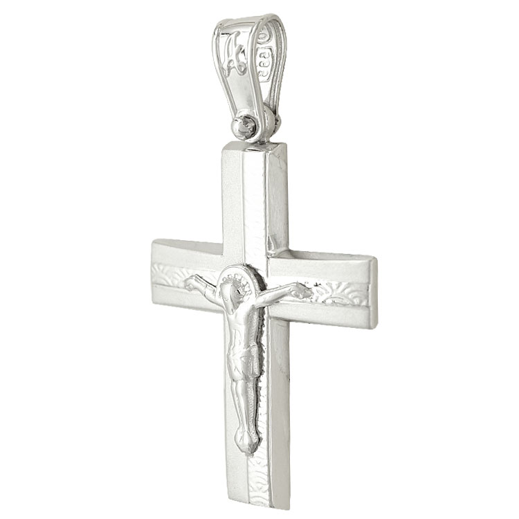 Σταυρός Βάπτισης Κ14 Λευκόχρυσος Ανδρικός ST2051