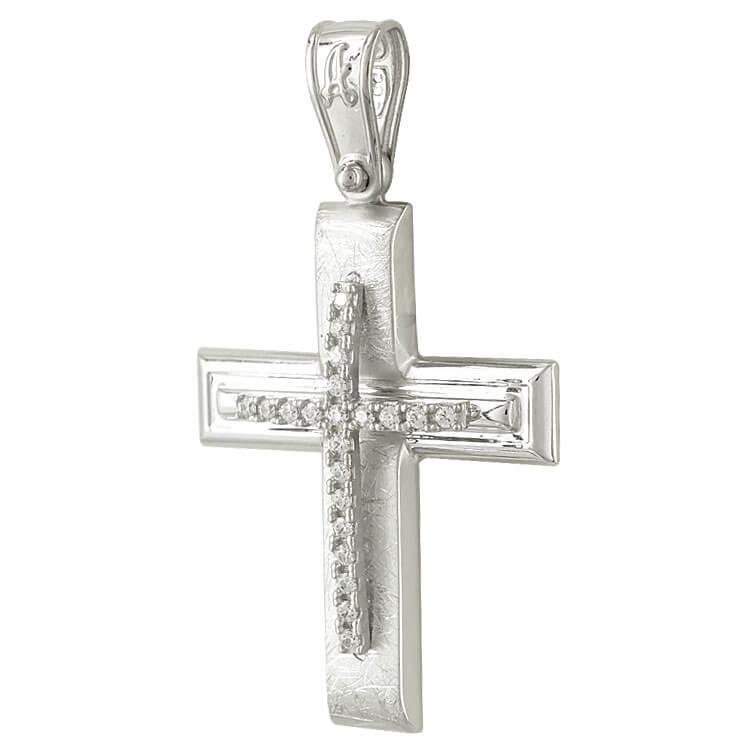 Σταυρός Βάπτισης Κ14 Λευκόχρυσος Γυναικείος ST2060