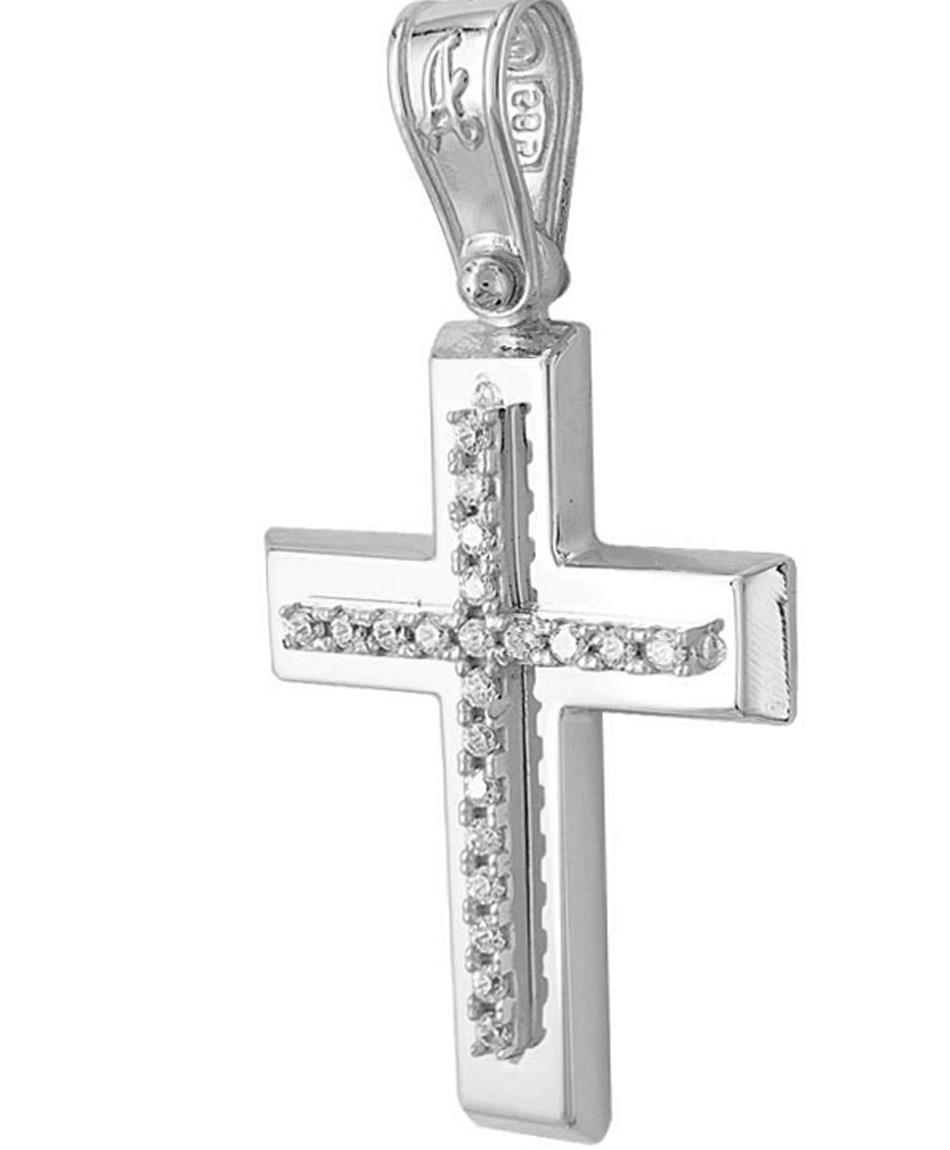 Σταυρός Βάπτισης Κ14 Λευκόχρυσος Γυναικείος ST2177