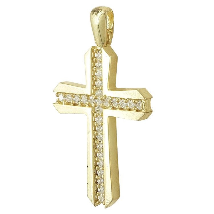 Σταυρός Βάπτισης Κ14 Κίτρινος Χρυσός Γυναικείος ST2193