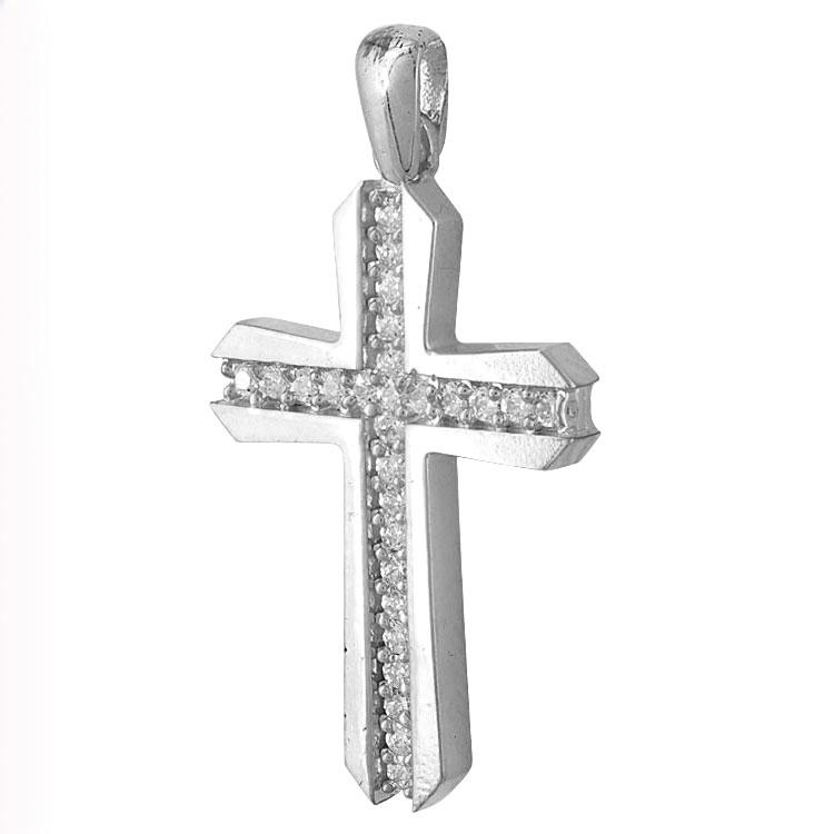 Σταυρός Βάπτισης Κ14 Λευκόχρυσος Γυναικείος ST2194