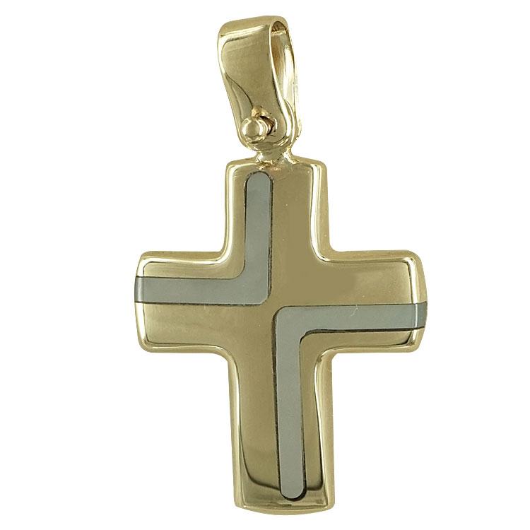 Σταυρός βάπτισης κίτρινος χρυσός