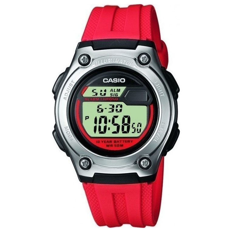 CASIO Sport Red Rubber Strap W-211-4AVES