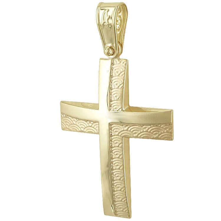Σταυρός Βάπτισης Κ14 Κίτρινος Χρυσός Ανδρικός ST2248