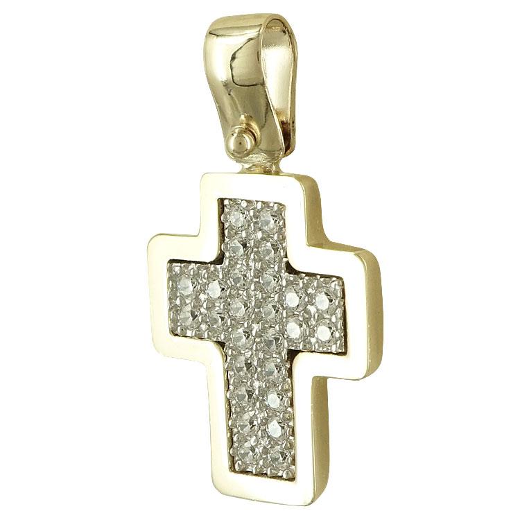 Σταυρός Βάπτισης Κ14 Κίτρινος Χρυσός Γυναικείος ST2289