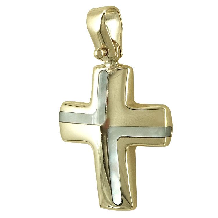 Σταυρός Βάπτισης Κ14 Κίτρινος Χρυσός Γυναικείος ST2293