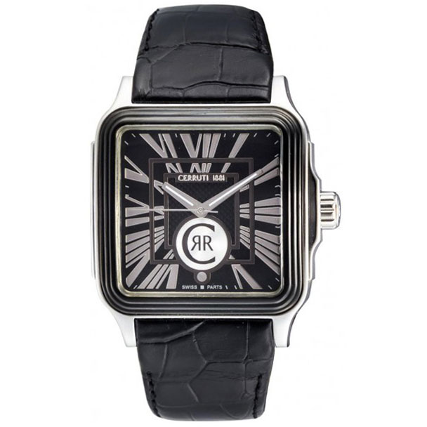 CERRUTI Men'S Carrare Black Dial Black Leather CRB016E222B