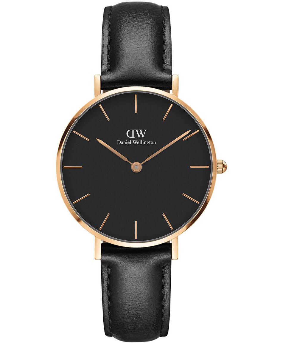 DANIEL WELLINGTON Classic Rose Gold Black Petite Sheffield Leather Strap DW00100168