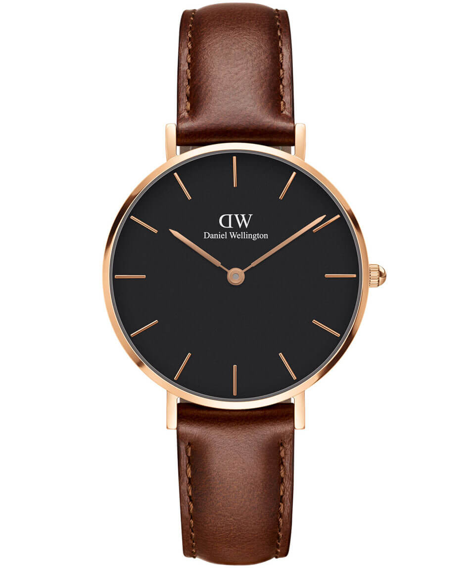 DANIEL WELLINGTON Classic Rose Gold Black Petite ST Mawes Leather Strap DW00100169