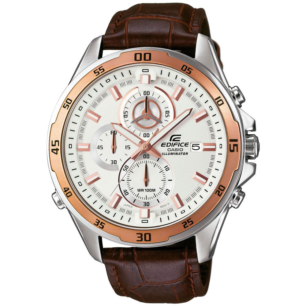 CASIO Edifice Mens Chronograph Brown Leather Strap EFR-547L-7AVUEF