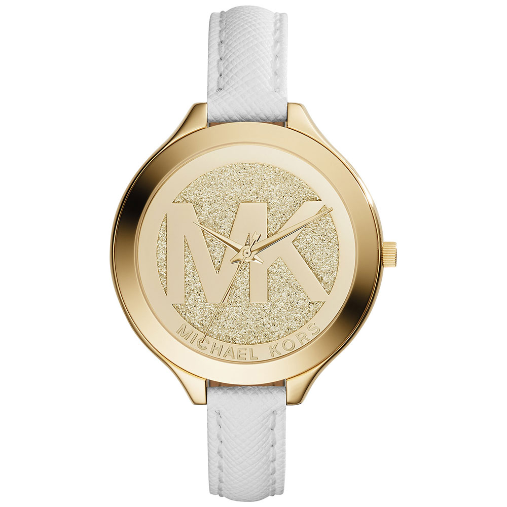 MICHAEL KORS Slim Runway Gold White Leather Strap MK2389
