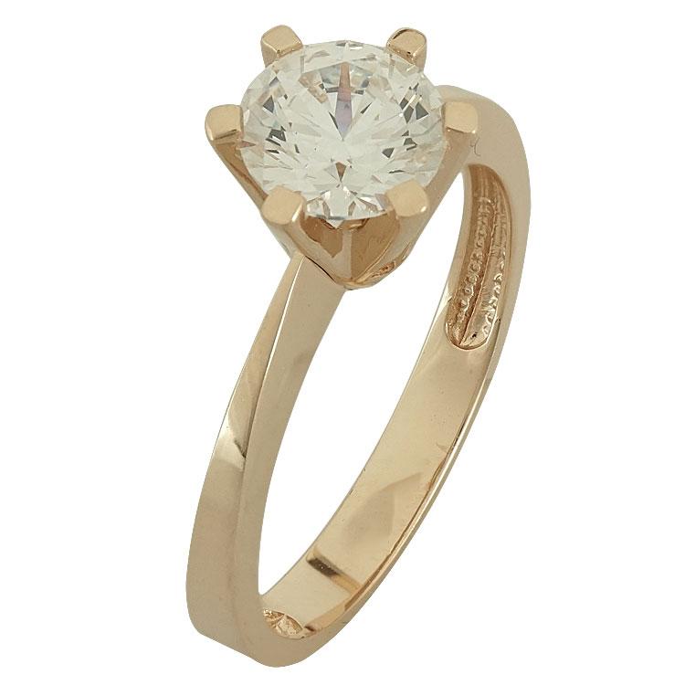 Ροζ Χρυσό Μονόπετρο Δαχτυλίδι Κ14 DX77670