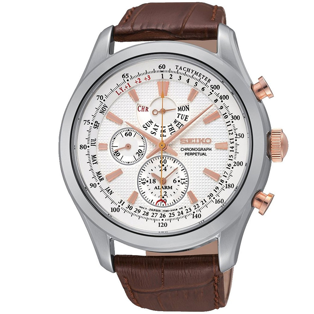 SEIKO Gents Quartz Perpetual Alarm Chronograph Watch SPC129P1