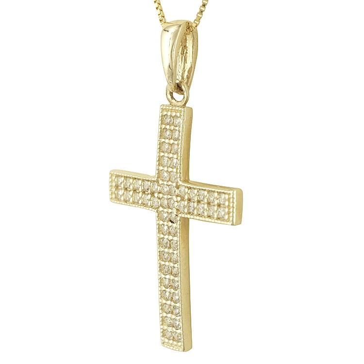 Σταυρός Βάπτισης Κ14 Κίτρινος Χρυσός Γυναικείος ST74437