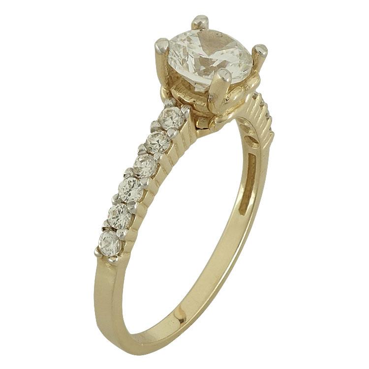 Κίτρινο Χρυσό Μονόπετρο Δαχτυλίδι Κ14 DX50761