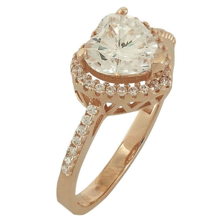 Ροζ Χρυσό Μονόπετρο Δαχτυλίδι Σε Σχήμα Καρδιάς Κ14 DX64804