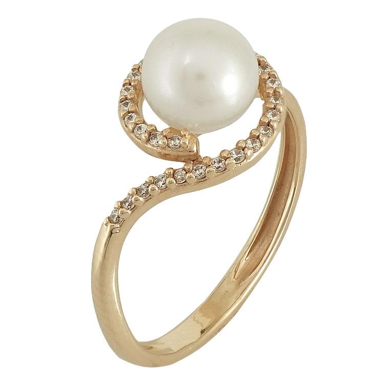 Ροζ Χρυσό Μονόπετρο Δαχτυλίδι με Μαργαριτάρι Κ14 DX65663