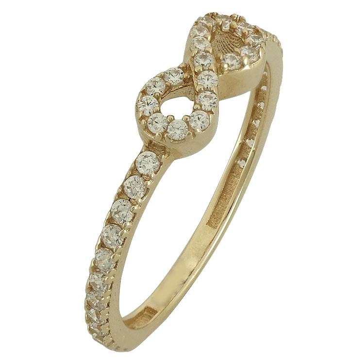 Κίτρινο Χρυσό Μισόβερο Δαχτυλίδι με το Άπειρο Κ14 DX80153