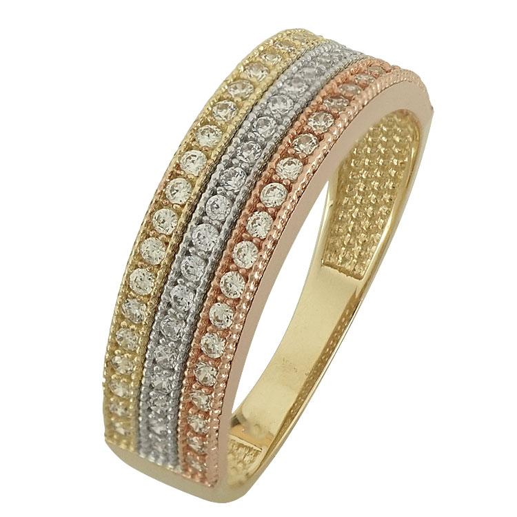Τρίχρωμο Χρυσό Μισόβερο Δαχτυλίδι Κ14 DX83194