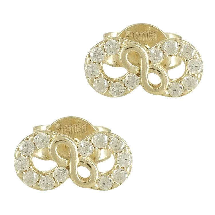 Κίτρινα Χρυσά Σκουλαρίκια με το Άπειρο Κ14 SK86248
