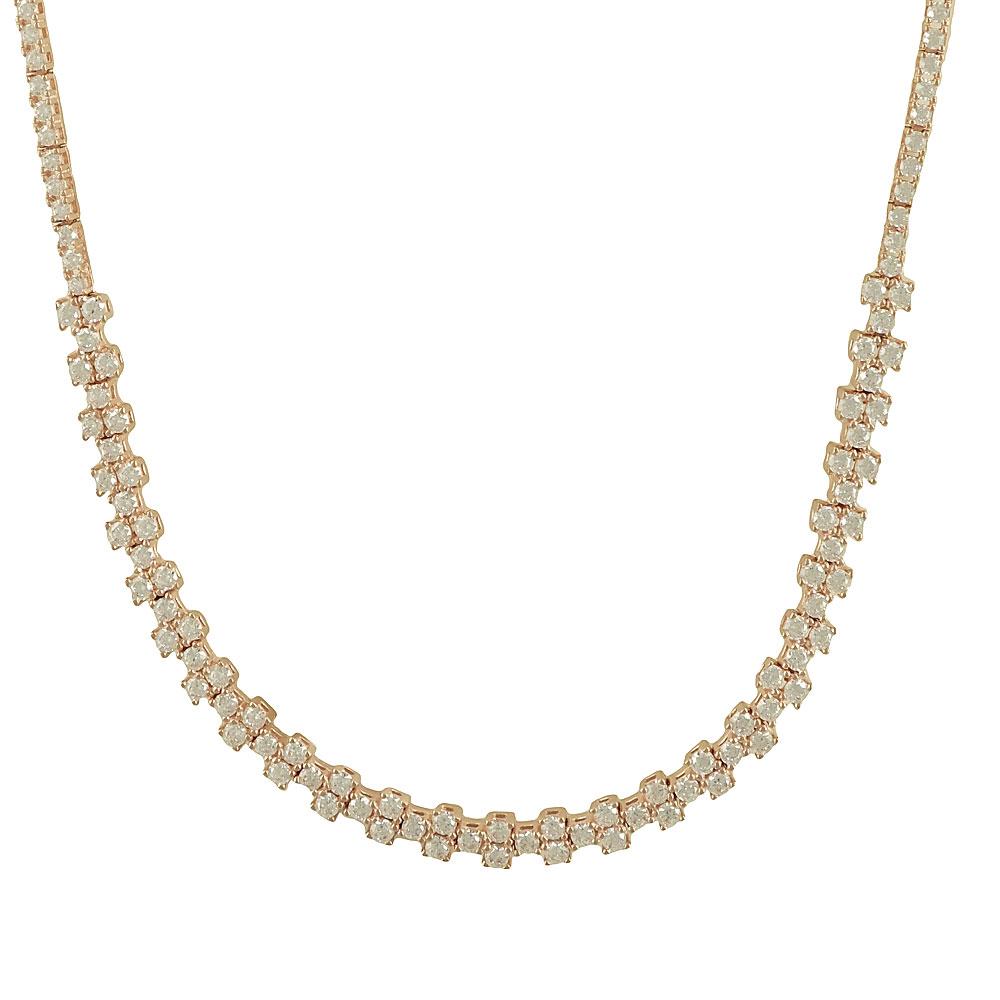 Ροζ Χρυσό Κολιέ με Signity Stones K14 KL83638