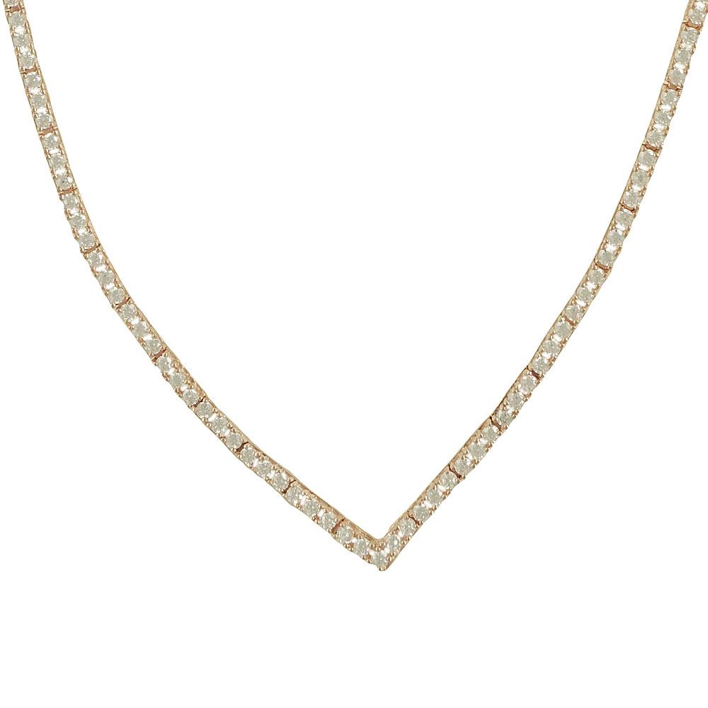 Ροζ Χρυσό Κολιέ με Signity Stones K14 KL83661
