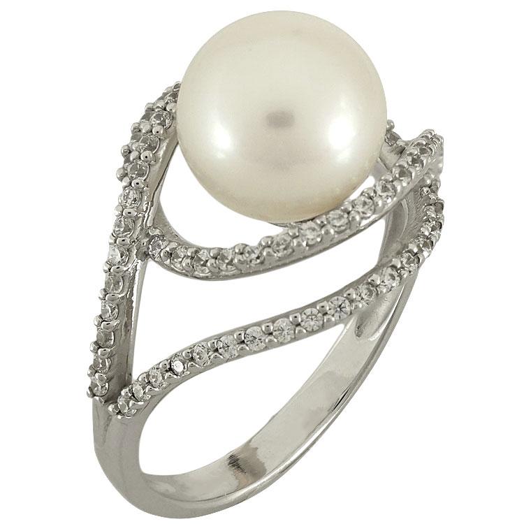 Λευκόχρυσο Μονόπετρο Δαχτυλίδι με Μαργαριτάρι Κ14 DX73819