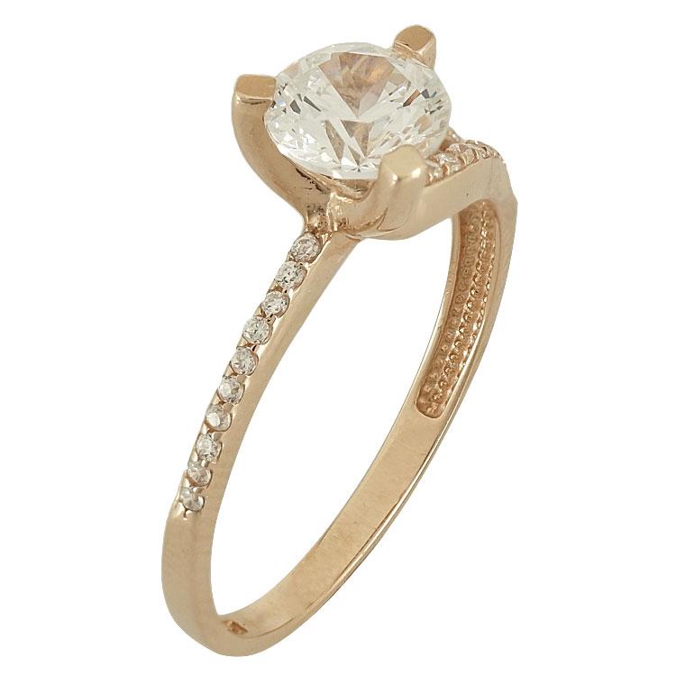Ροζ Χρυσό Μονόπετρο Δαχτυλίδι Κ14 DX77665