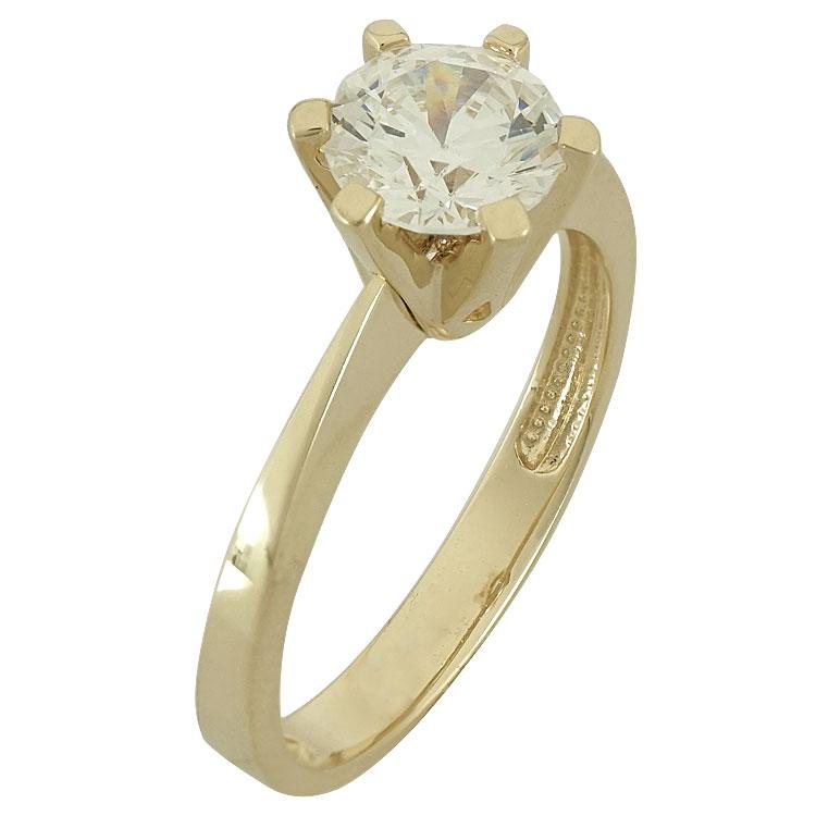 Κίτρινο Χρυσό Μονόπετρο Δαχτυλίδι Κ14 DX77668