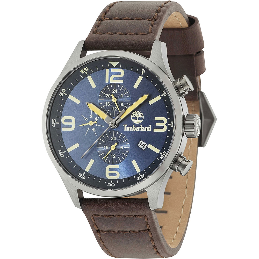 TIMBERLAND Rutherford Multifunction Brown Leather Strap 15266JSU-03