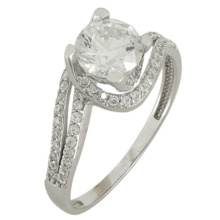 Λευκόχρυσο Μονόπετρο Δαχτυλίδι Κ14 DX79334