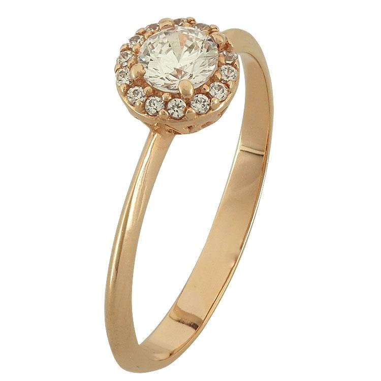 Ροζ Χρυσό Μονόπετρο Δαχτυλίδι Κ14 DX80050