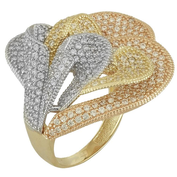 Τρίχρωμο Χρυσό Δαχτυλίδι Κ14 DX81198