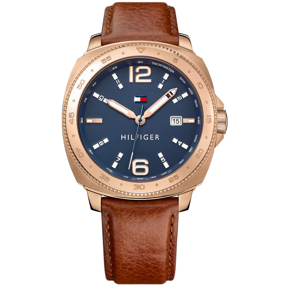 Tommy Hilfiger Lucas Rose Gold Brown Leather Strap 1791431